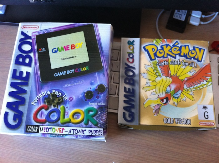 Original boxes for my Game Boy Color and Pokémon Gold