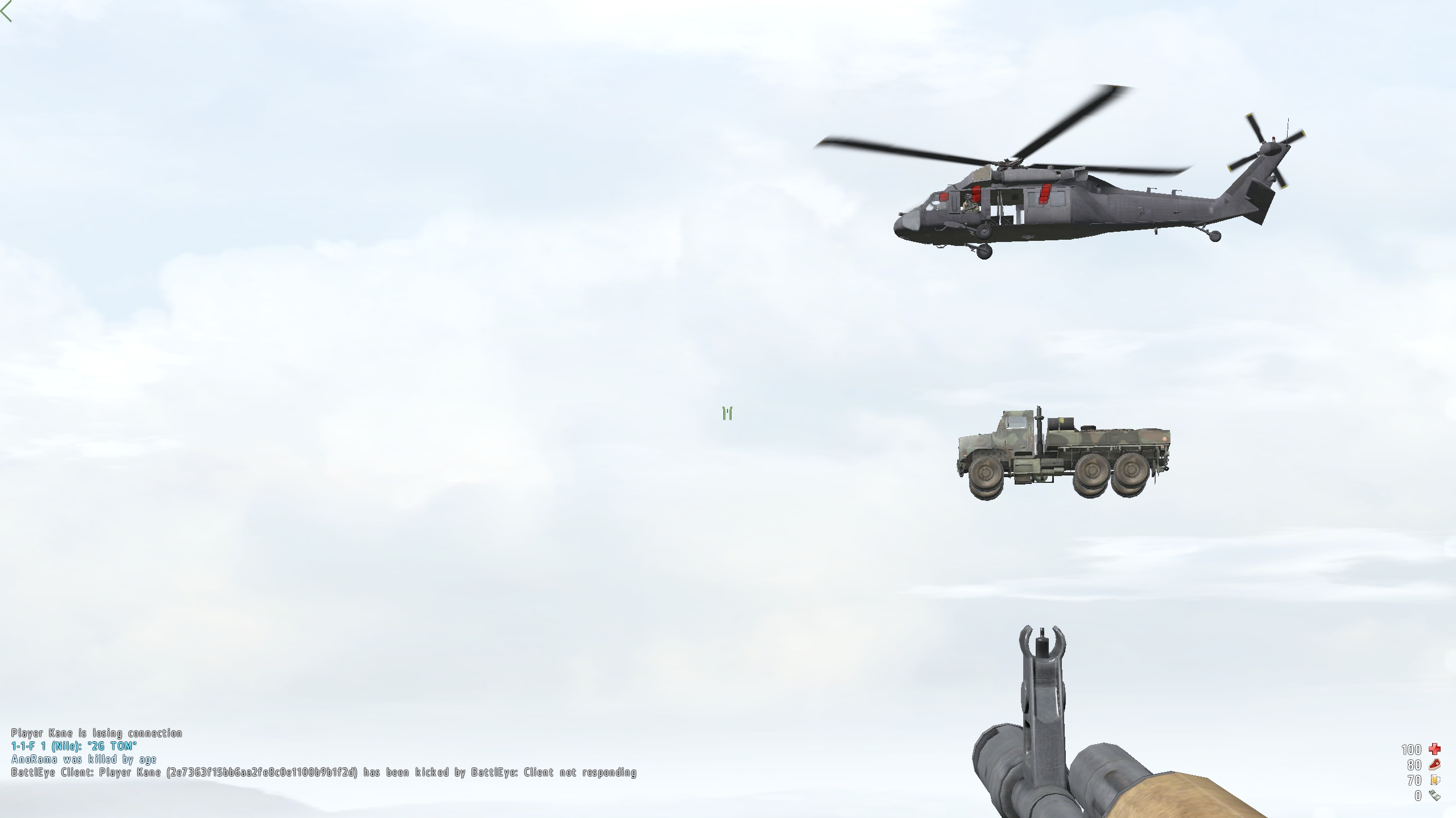 A Blackhawk towing a MTVR.