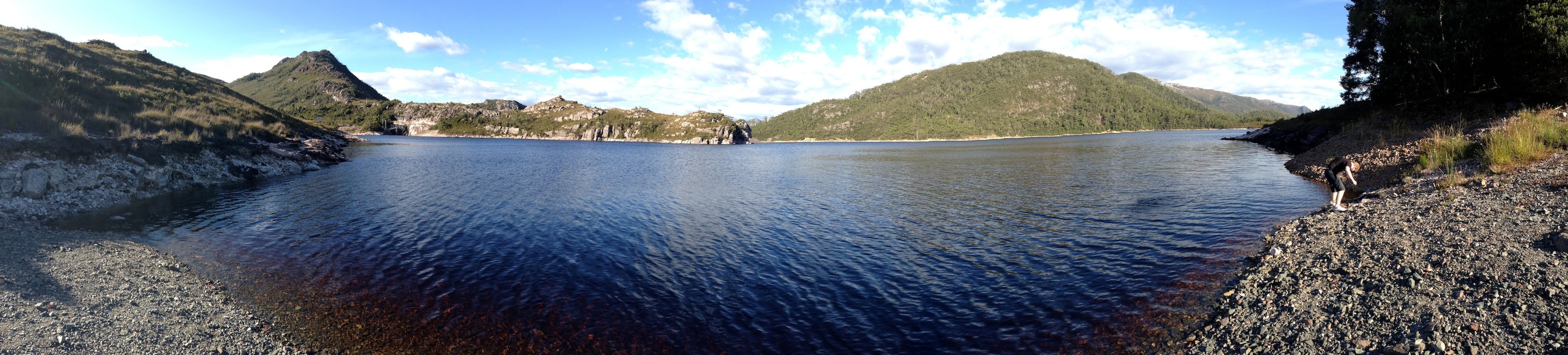 A iPhone-powered panorama of Lake Plimsoll. The panorama feature doesn't do too bad a job, actually.