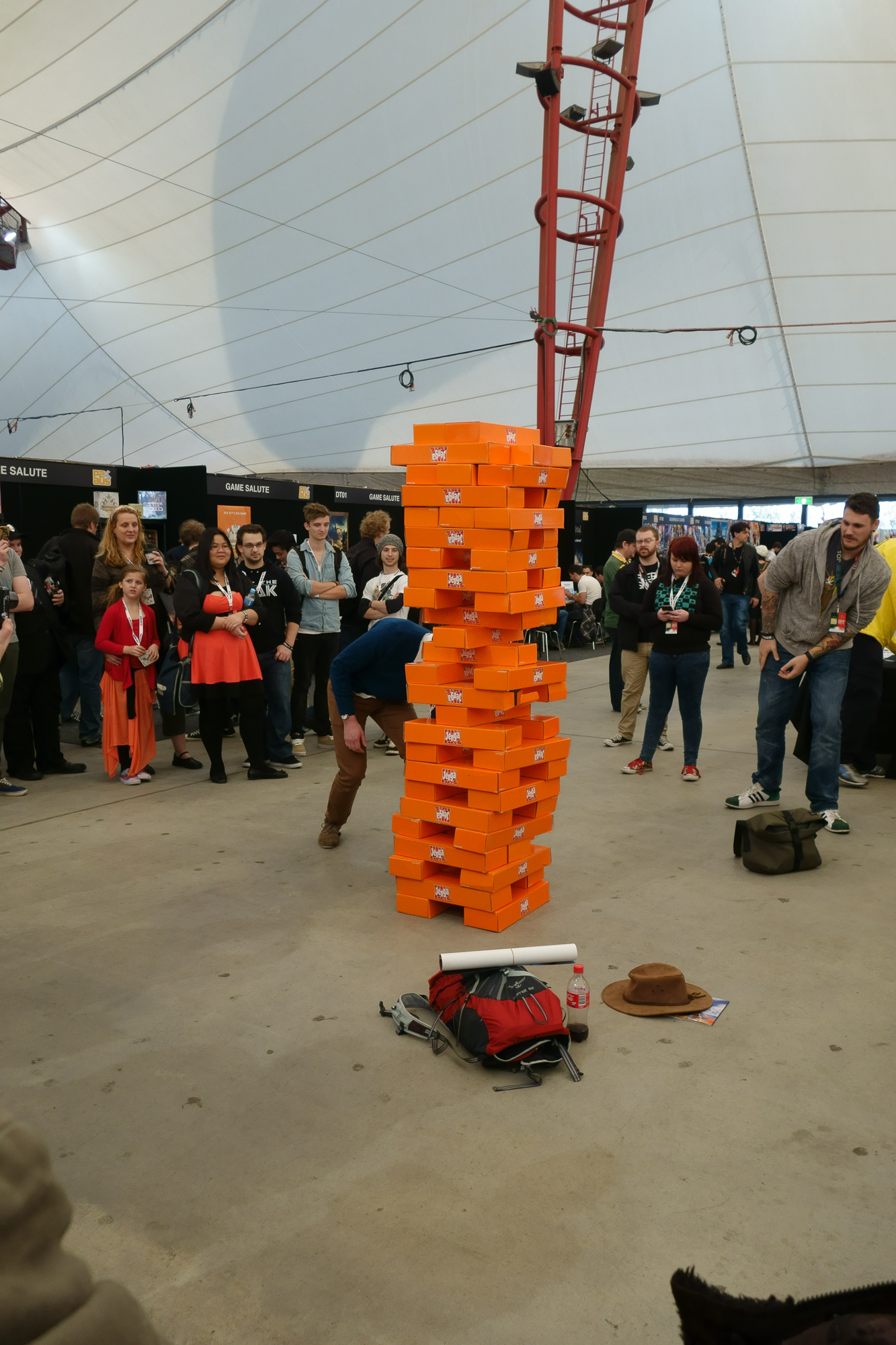 Giant Jenga in the Big Top