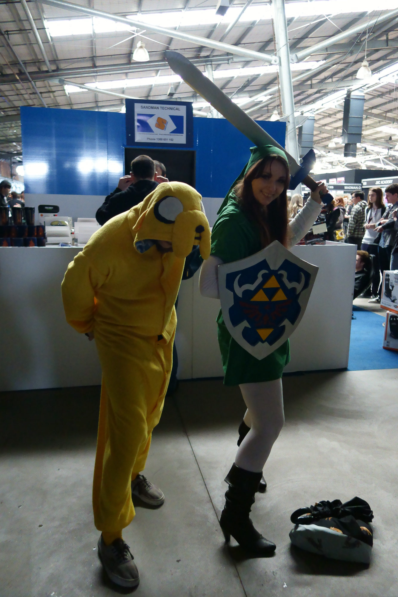 Adventure Time and Link from Zelda, I believe