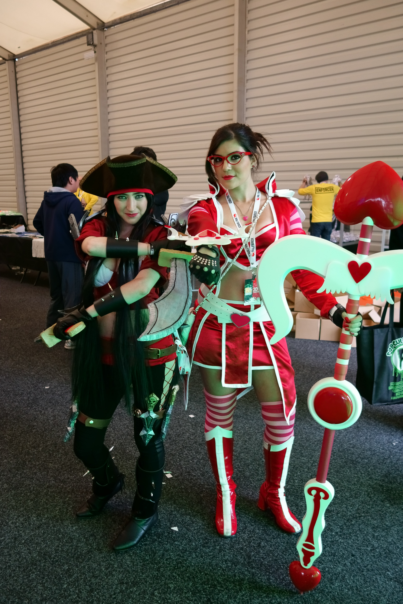 """The lady on the right is apparently """"Heartseeker Vayne"""", a League of Legends character"""