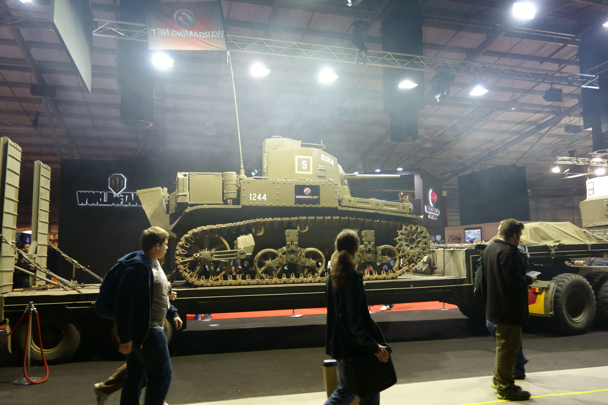 The World of Tanks guys had an actual tank. The fog is from Gigabyte, who were doing overclocking with liquid nitrogen or similar