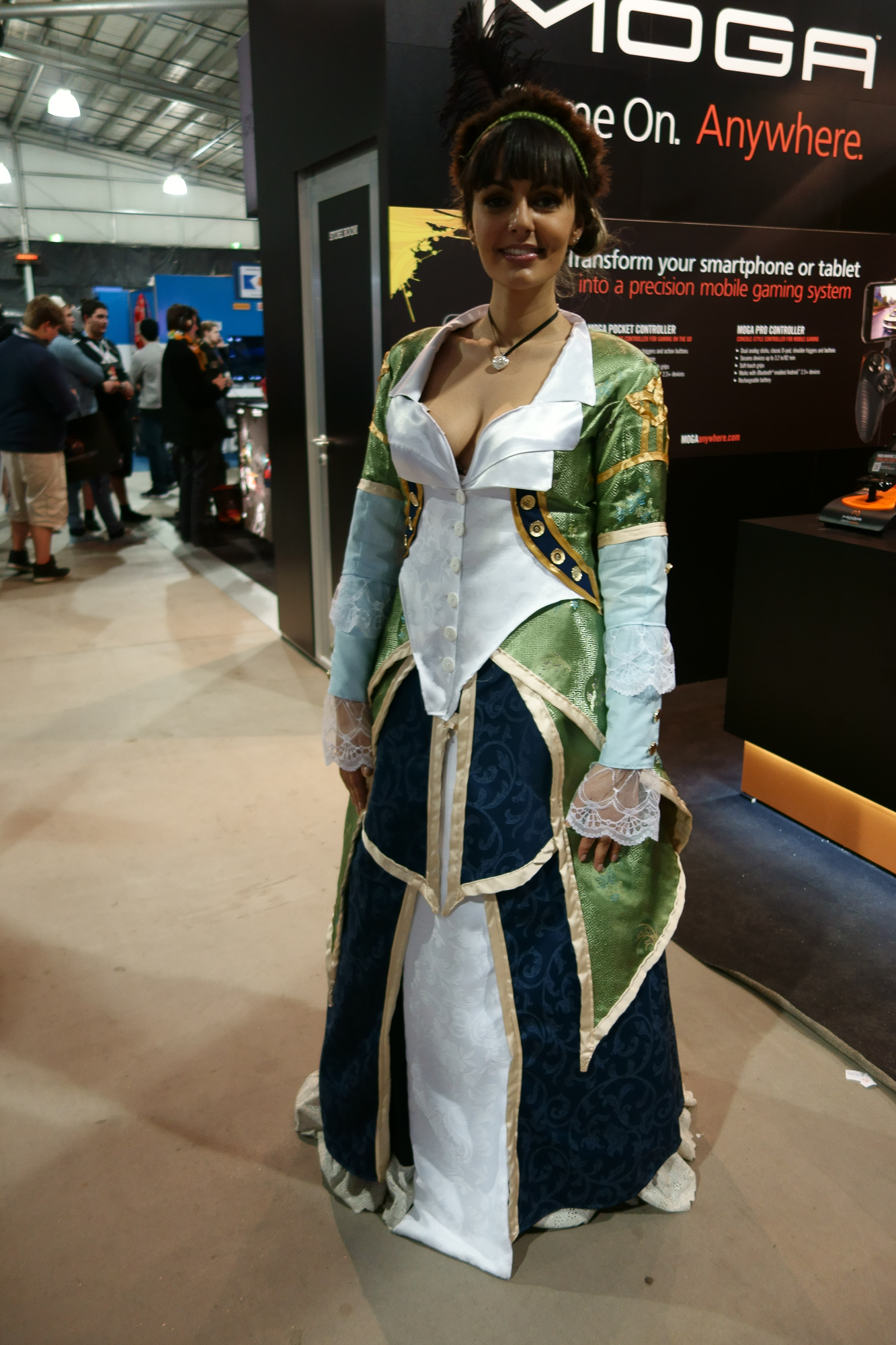 No idea who she was cosplaying, but she had an impressive, uh, costume (that she made herself), so I took a photo