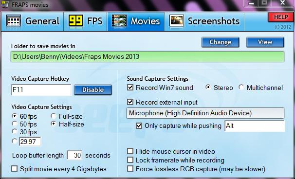 fraps movies settings