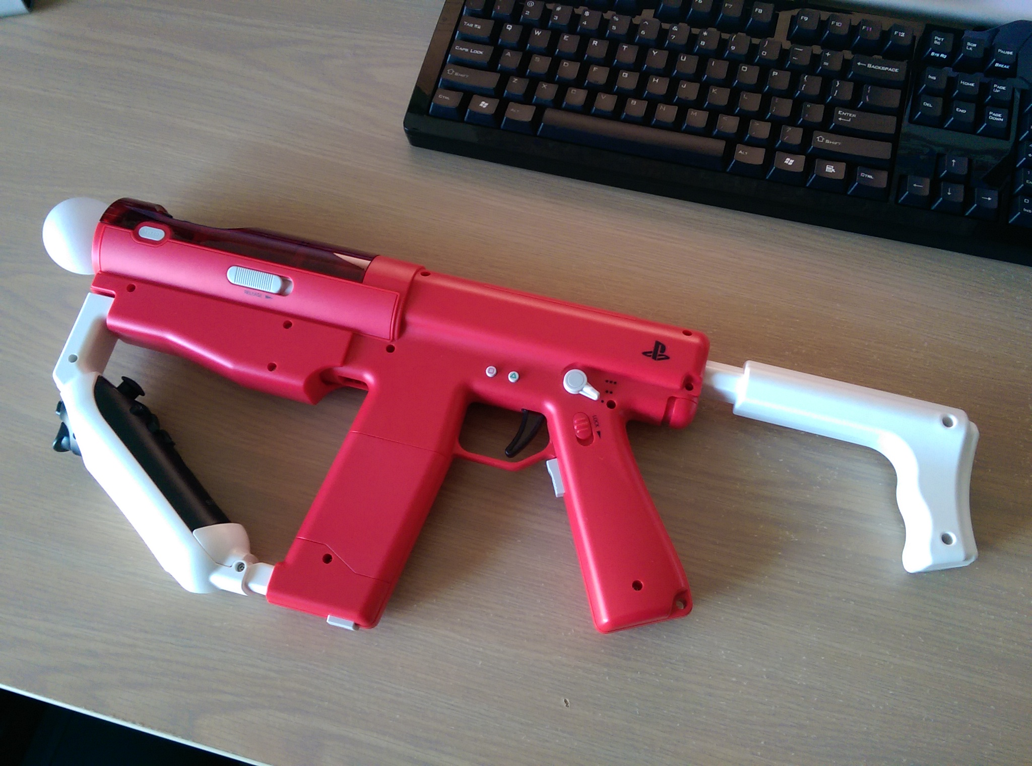 The PlayStation Move SharpShooter accessory.
