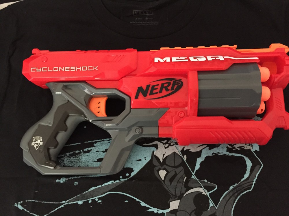At the same mall where I picked up the Rival was a Toys R Us. In the spirit of adding to my Nerf collection, I grabbed this Nerf Cycloneshock — I've been impressed by Mega darts before, and this seemed like the natural progression.