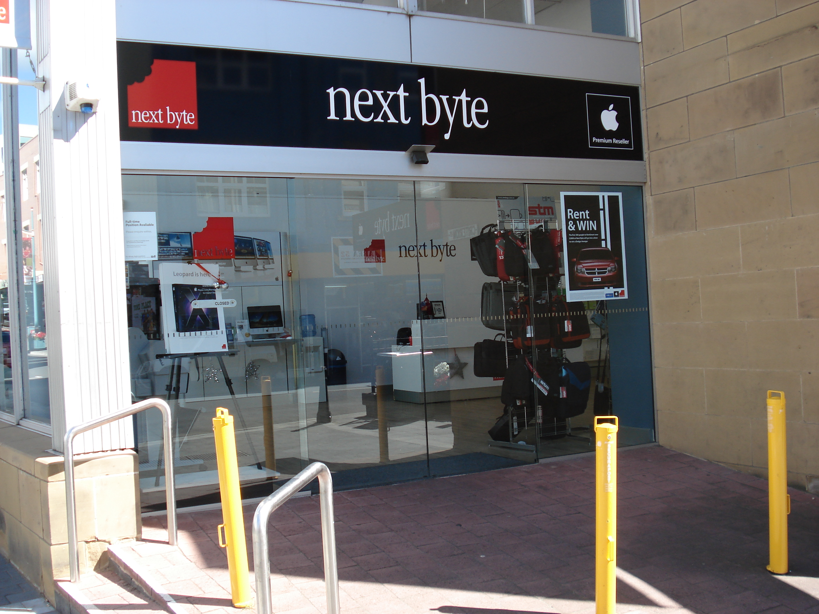 Sliding glass door entrance to Next Byte Hobart, circa 2008